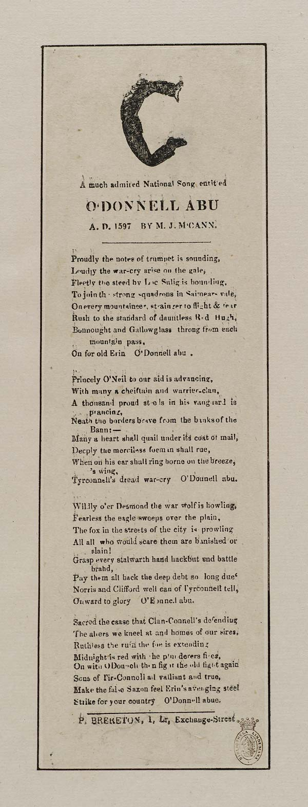 (43) Much admired national song entitled O'Donnell abu