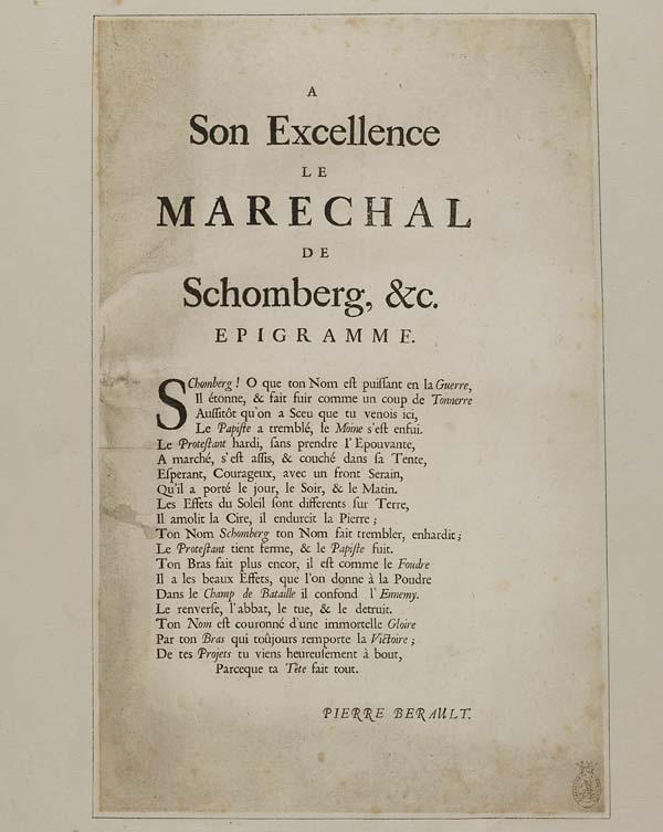 (16) Son excellence le Marechal de Schomberg, &c