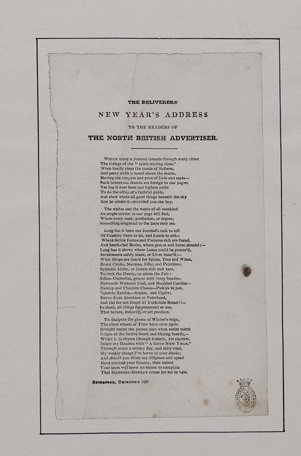 (21) Deliverers' New Year's address to the readers of The North British Advertiser