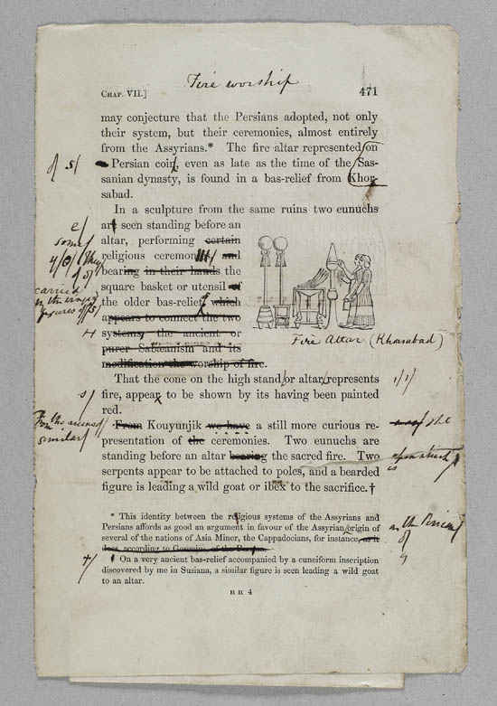 Selected pages of annotated proofs of Sir Austen Henry Layard's 'Nineveh and its Remains', 1848 - MS.42352