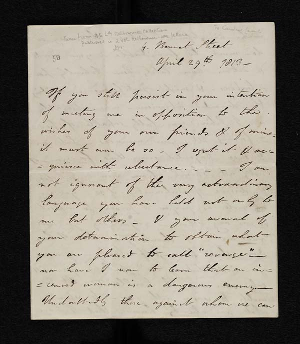 Letter of Lord Byron to Lady Caroline Lamb, 29 April 1813 - MS. 43557