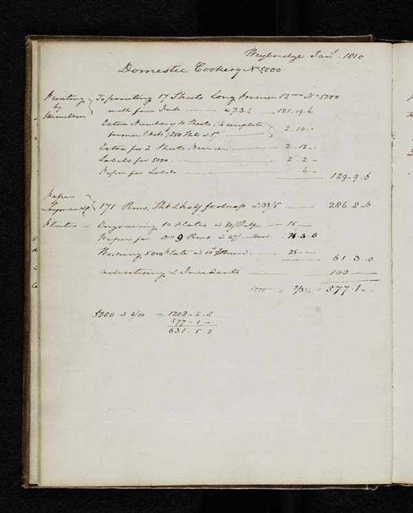 Estimated publishing costs for Maria Rundell's 'Domestic Cookery' - MS.42720 pp.16-17, 19-21 & 25 and Ms.42721 p.36
