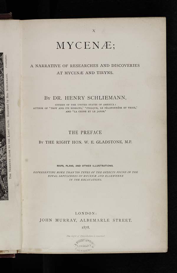 Title page of Dr. Heinrich Schliemann's 'Mycenae', 1878 - E.70.c.14