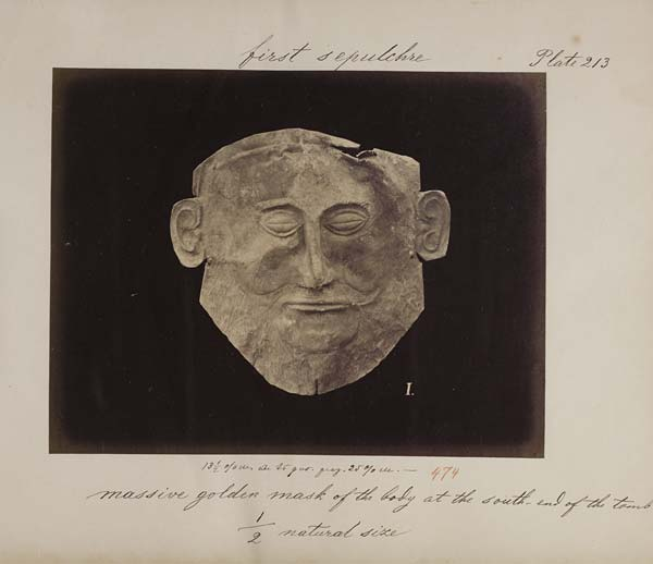 Photograph of the mask of 'Agamemnon', 1878 - Acc.12973/9 Plate 213