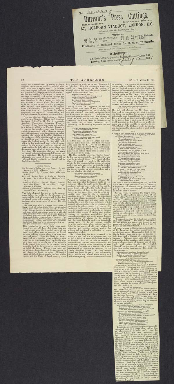 Review of 'Burdens of Belief' in 'The Athenaeum', 14 July 1894 - Ms.40189 f.139