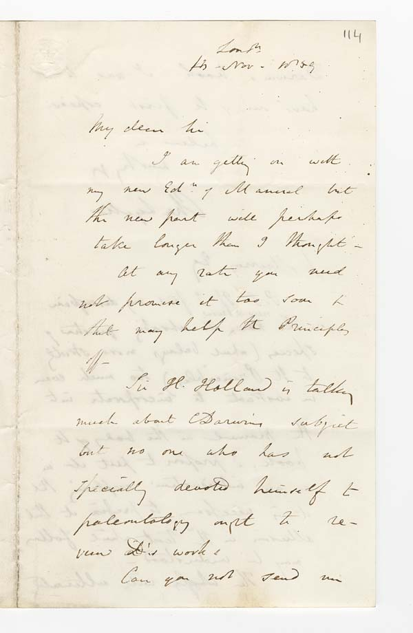 Letter of Sir Charles Lyell to John Murray, 4 November 1859 - Ms.40728 ff.113-114