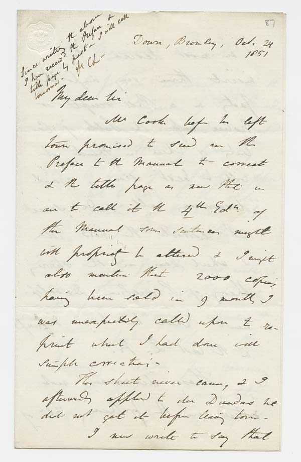 Letter of Sir Charles Lyell to John Murray, 24 October 1851 - Ms.40728 ff.87-88