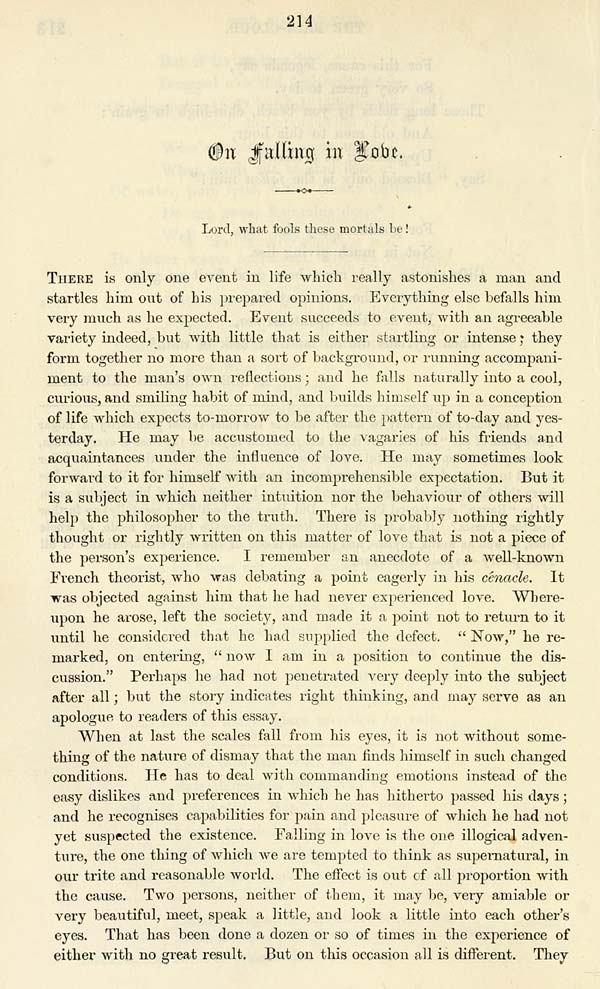 robert louis stevenson essay on falling in love It is a common answer to say the good people marry because they fall in love  and of  right thinking, and may serve as an apologue to readers of this essay.