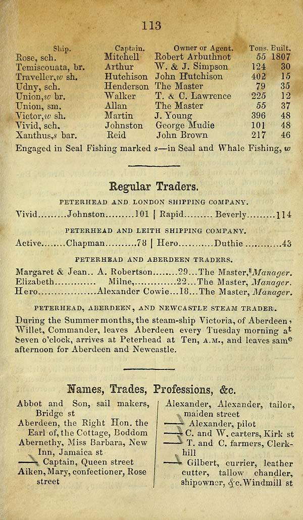 123) - Towns > Peterhead (and Buchan) > 1853 - Peterhead almanac and