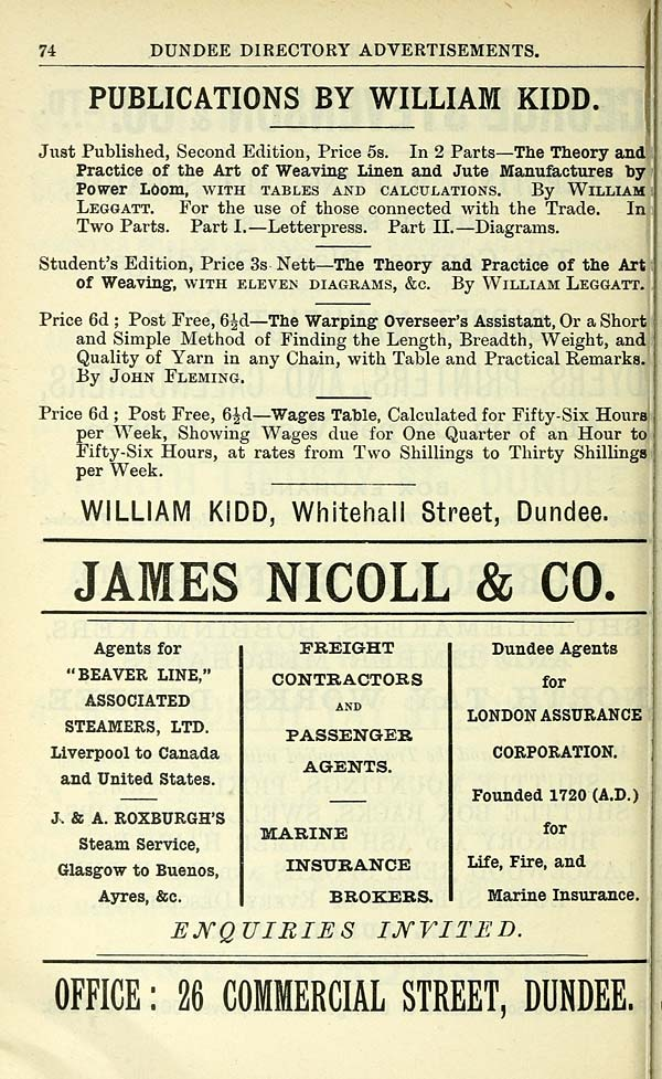 944) - Towns > Dundee > 1809-1912 - Dundee directory > 1900-1901