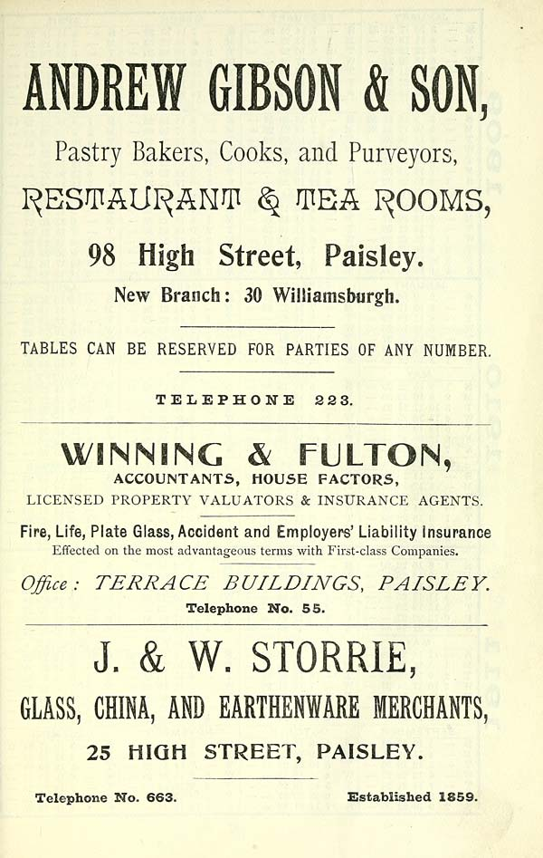 9) - Towns > Paisley > 1884-1912 - Paisley directory and
