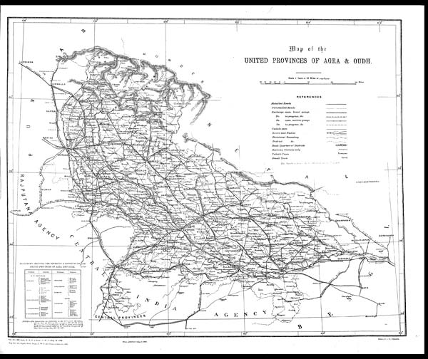 Foldout Open Map Of The United Provinces Of Agra Oudh - Map of united provinces india