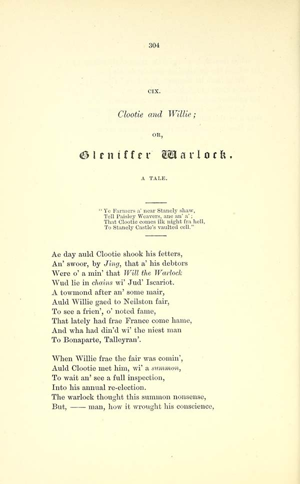 (322) Page 304 - Clootie and Willie; or, Gleniffer warlock. A tale