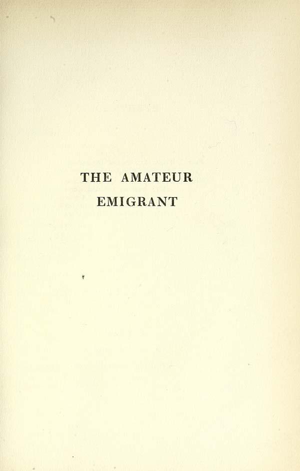 (21) Half title page - Amateur emigrant