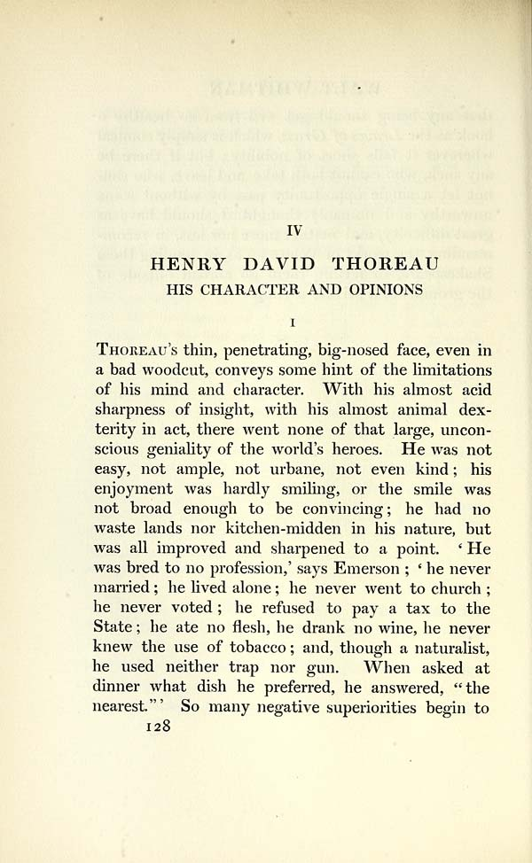 (144) Page 128 - IV. Henry David Thoreau: his character and opinions