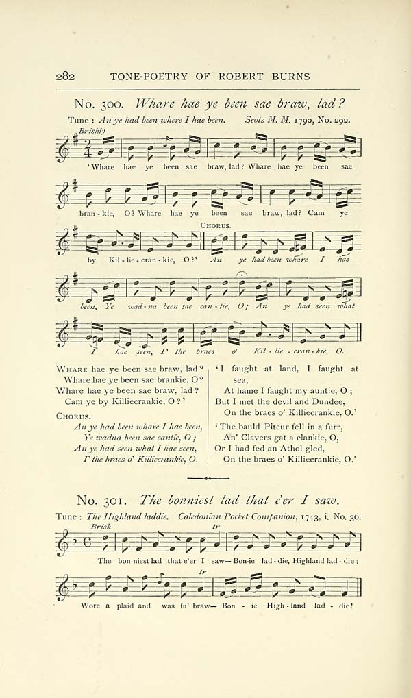 338 Page 282 Whare Hae Ye Been Sae Braw Lad Glen Collection Of Printed Music Printed Music Songs Of Robert Burns Special Collections Of Printed Music National Library Of Scotland