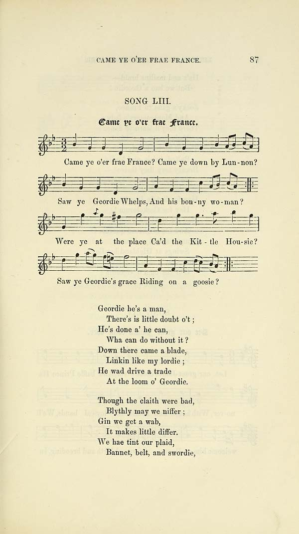 (111) Page 87 - Came ye o'er frae France