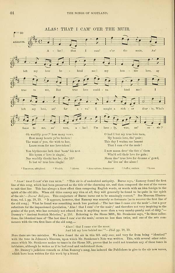 (68) Page 44 - Alas! That I cam' o'er the muir