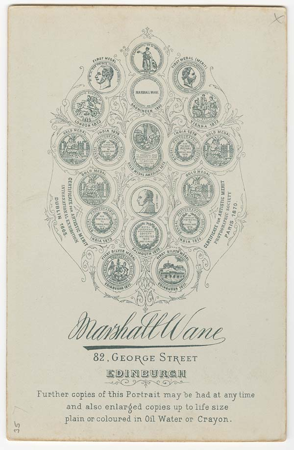 Printed details of medals and certificates won by the Marshall Wane Photographic Studio