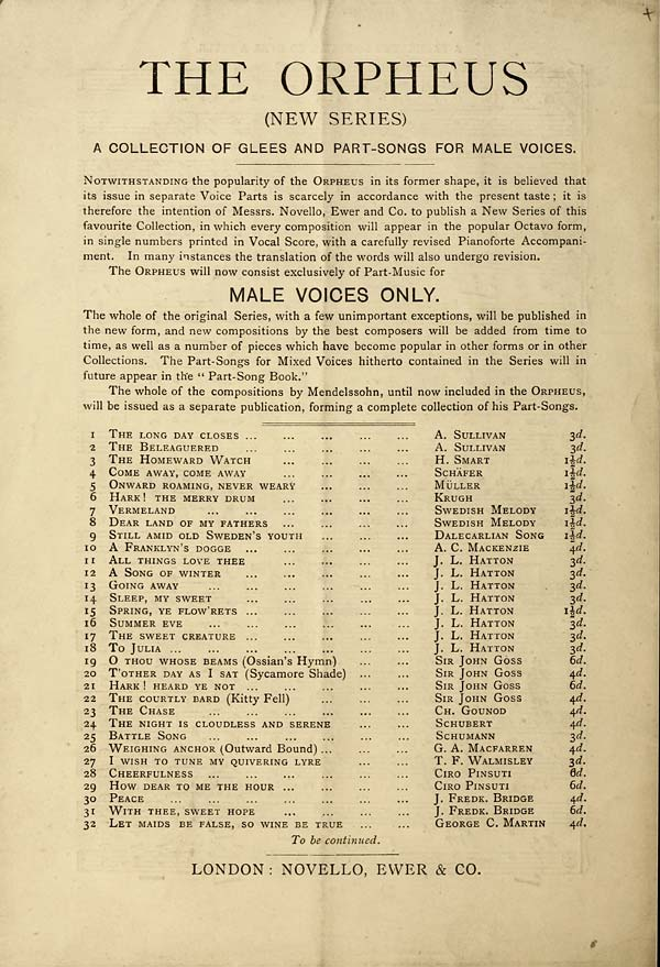 12) Back cover - Inglis Collection of printed music > Printed music