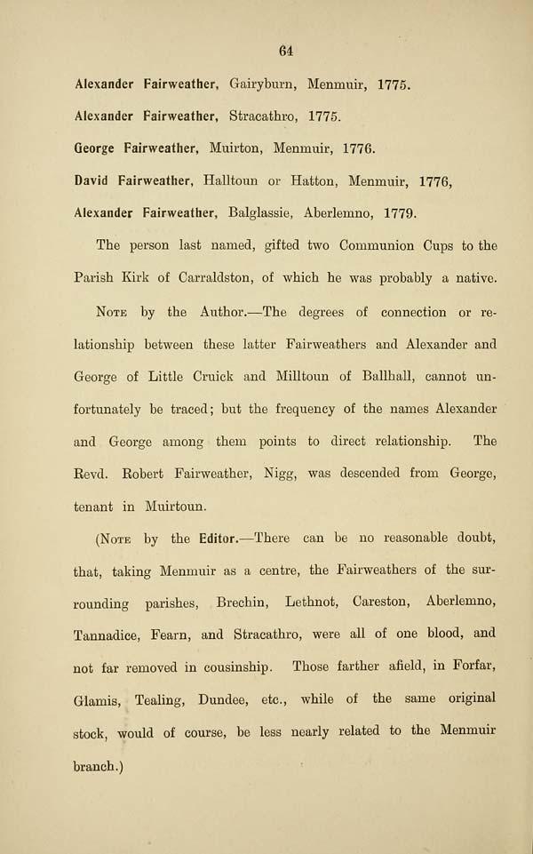 68) Page 64 - Memorandum regarding the Fairweathers of Menmuir ...
