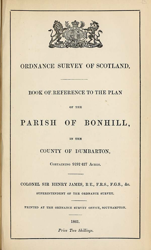 (285) 1861 - Bonhill, County of Dumbarton