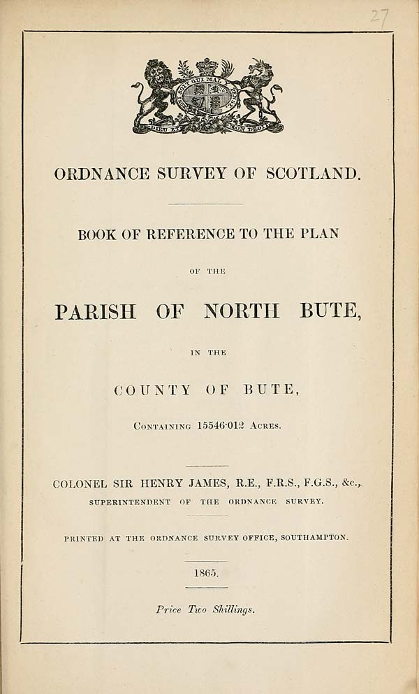 (693) 1865 - North Bute, County of Bute