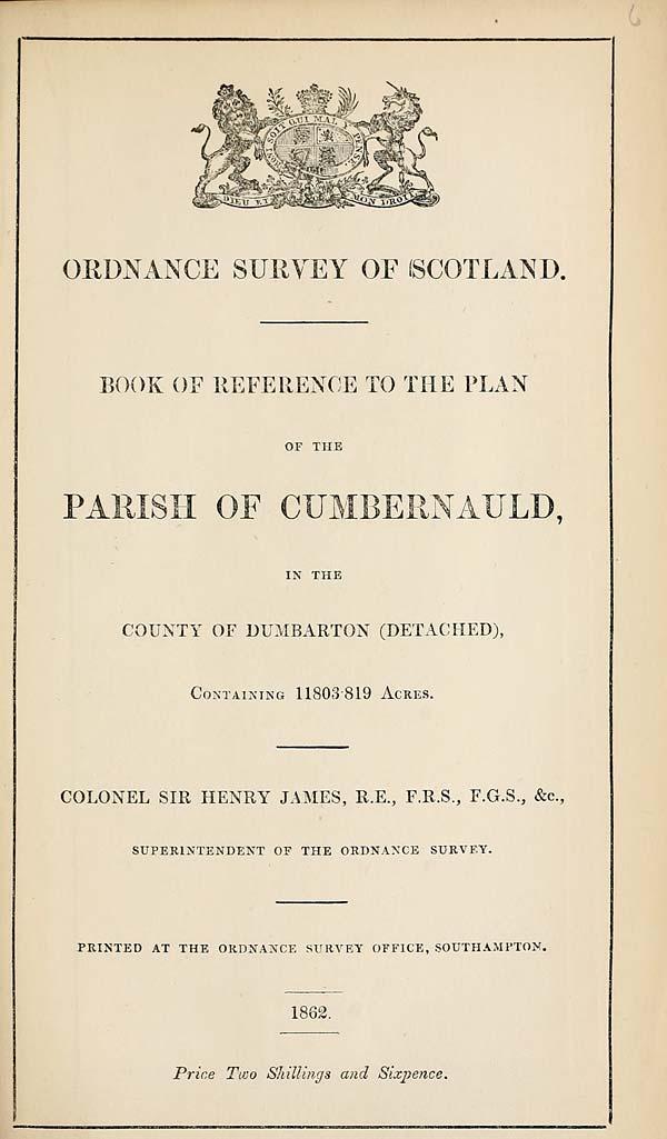 (127) 1862 - Cumbernauld, County of Dumbarton (detached)