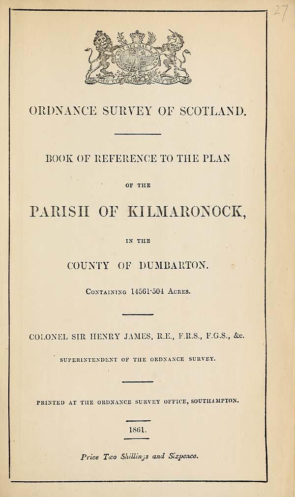 (643) 1861 - Kilmaronock, County of Dumbarton
