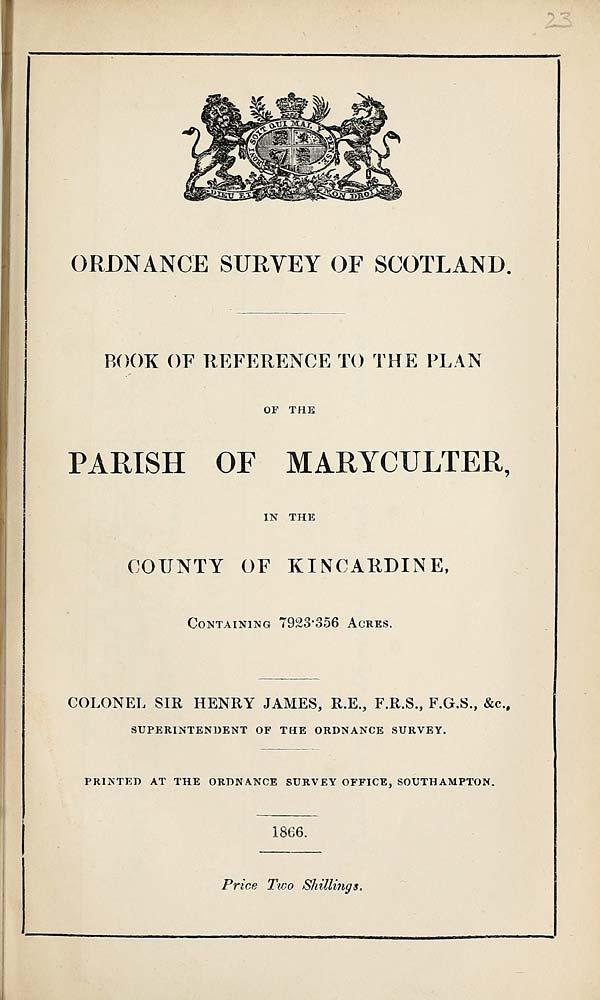 (507) 1866 - Maryculter, County of Kincardine