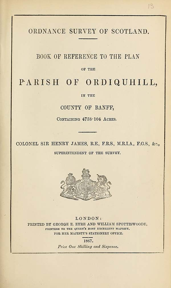 (333) 1867 - Ordiquhill, County of Banff
