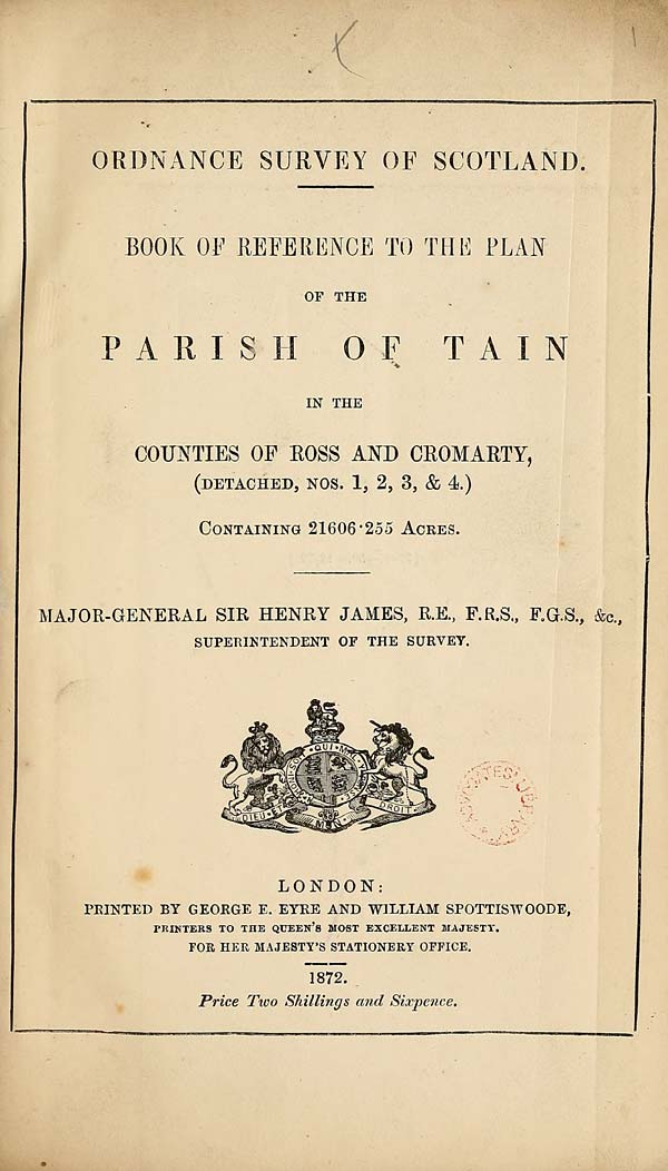 (7) 1872 - Tain, Counties of Ross and Cromarty