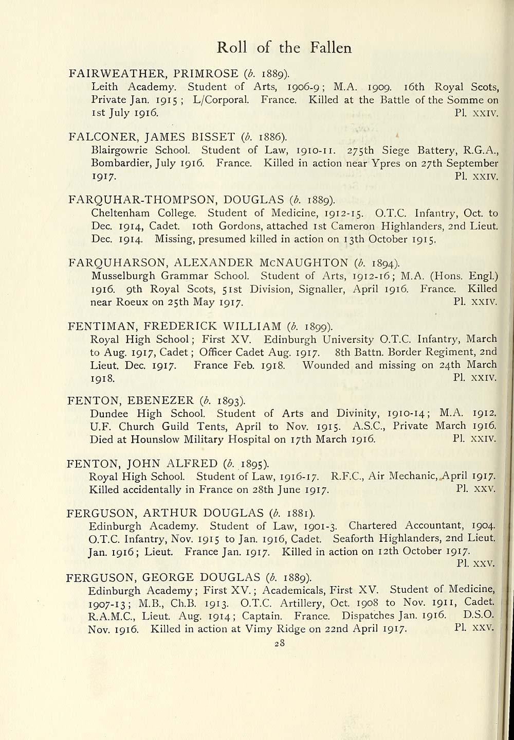 70) Page 28 - Organisations > 1921 - University of Edinburgh roll of ...