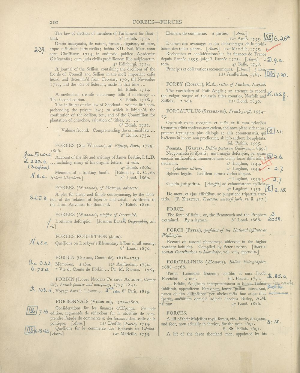 294) Page 210 - FORBES -- FORCES - Catalogue of the printed books in