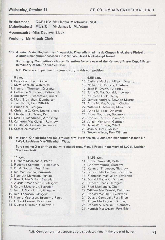 73) - Royal National Mòd Programmes and fringe events