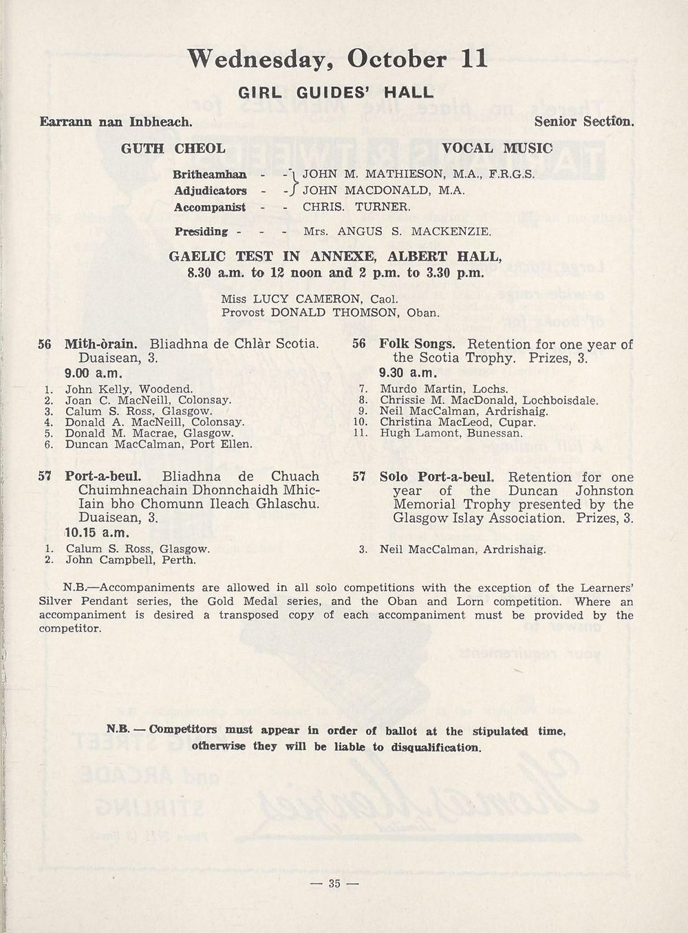 37) - Royal National Mòd Programmes and fringe events