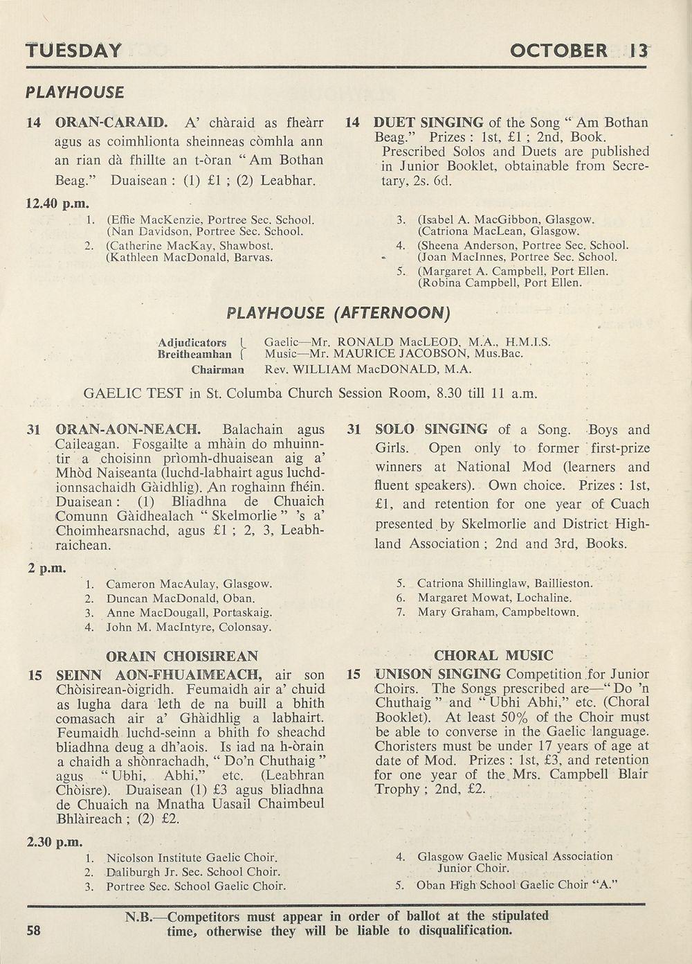 60) - Royal National Mòd Programmes and fringe events