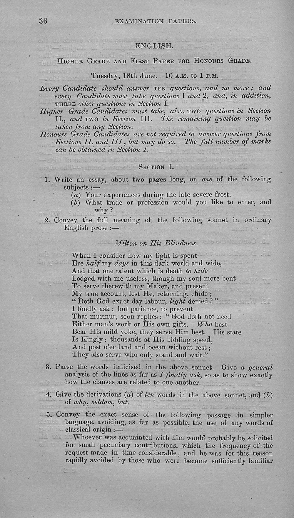 Browse and search > 1889-1895 - Papers set at the Examination for