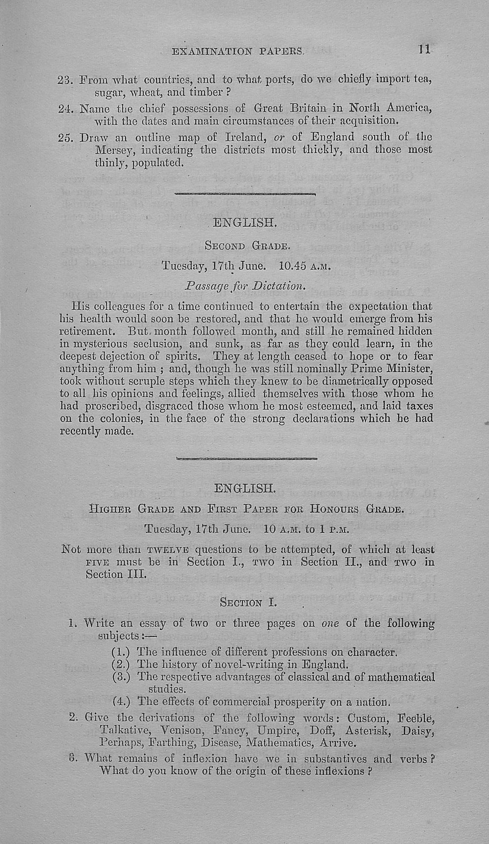 Browse And Search 1889 1895 Papers Set At The Examination For
