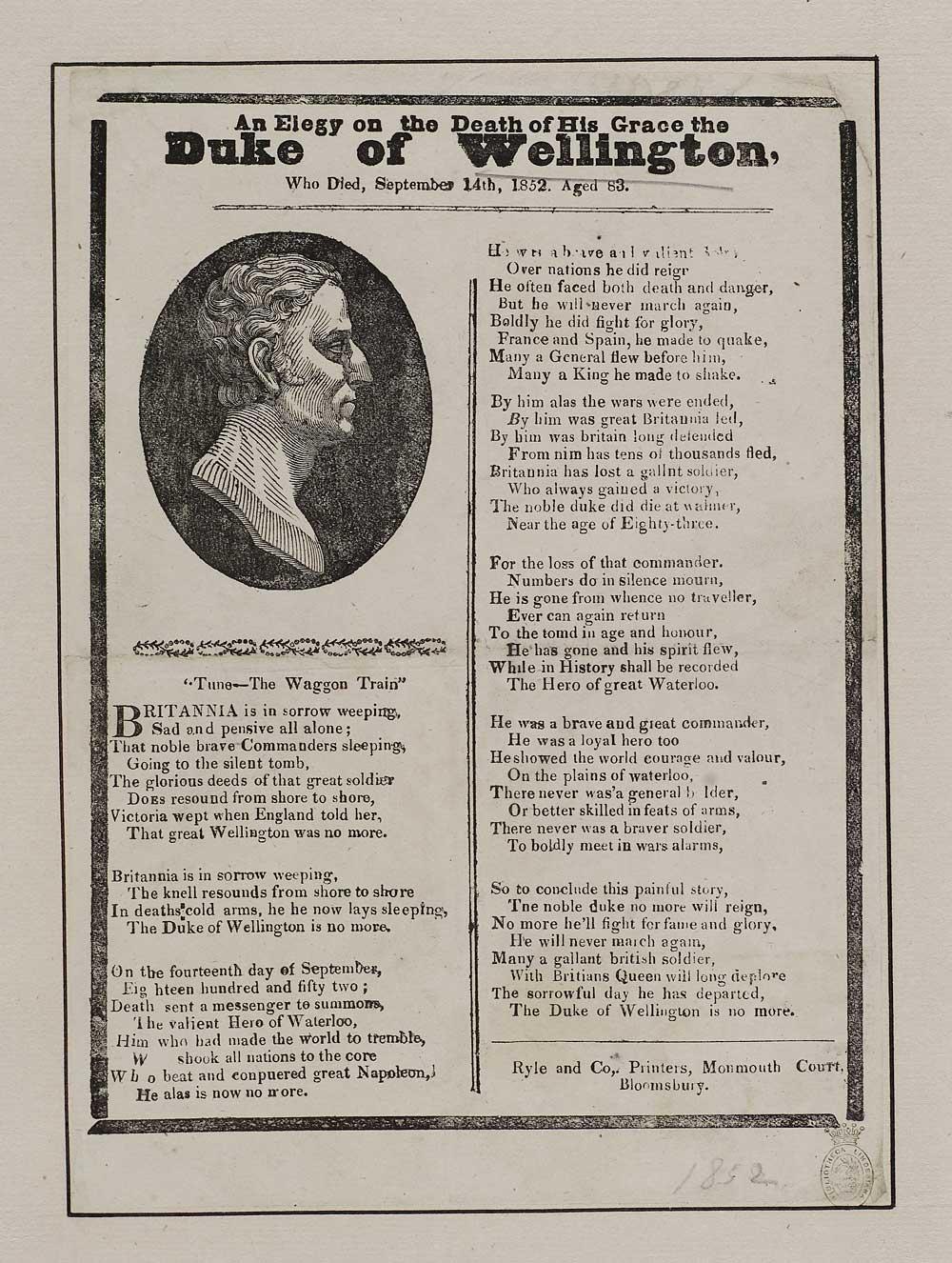Elegy on the death of his Grace the Duke of Wellington
