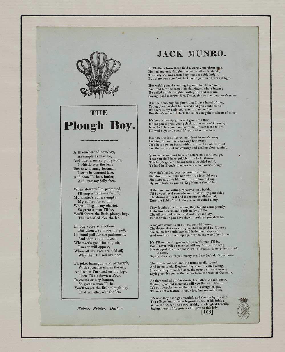 Plough Boy Occupations English Ballads National Library Of