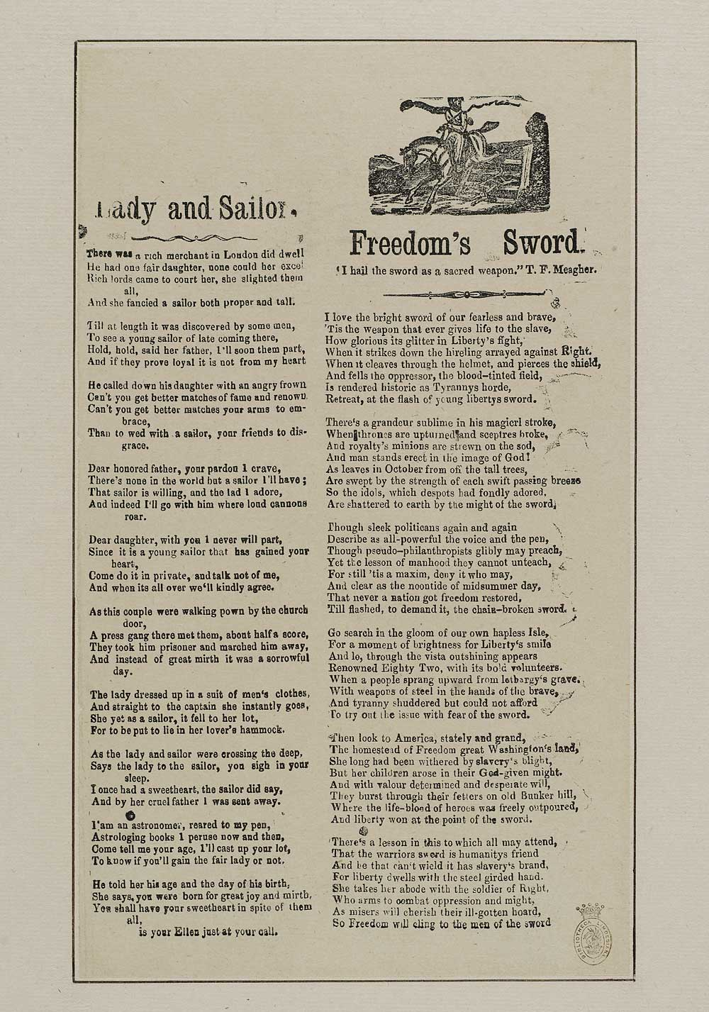 Lady and sailor - Courtship & marriage - English ballads