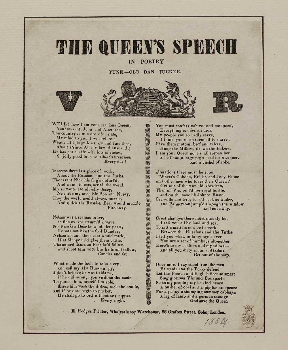 Queens Speech In Poetry Wars Crimean War 1853 1856