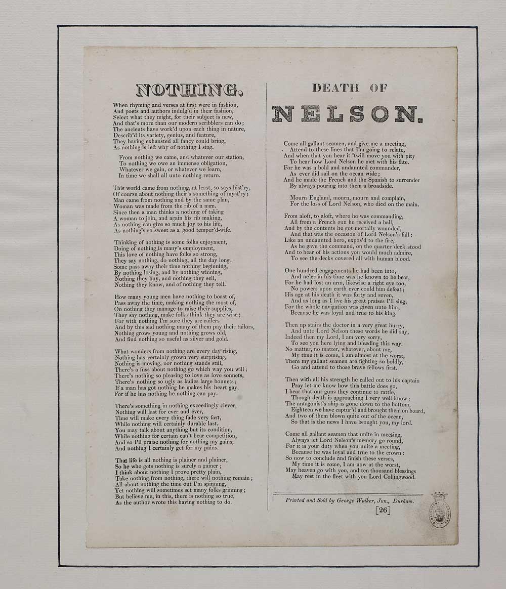 Nothing - Elegies & laments - English ballads - National