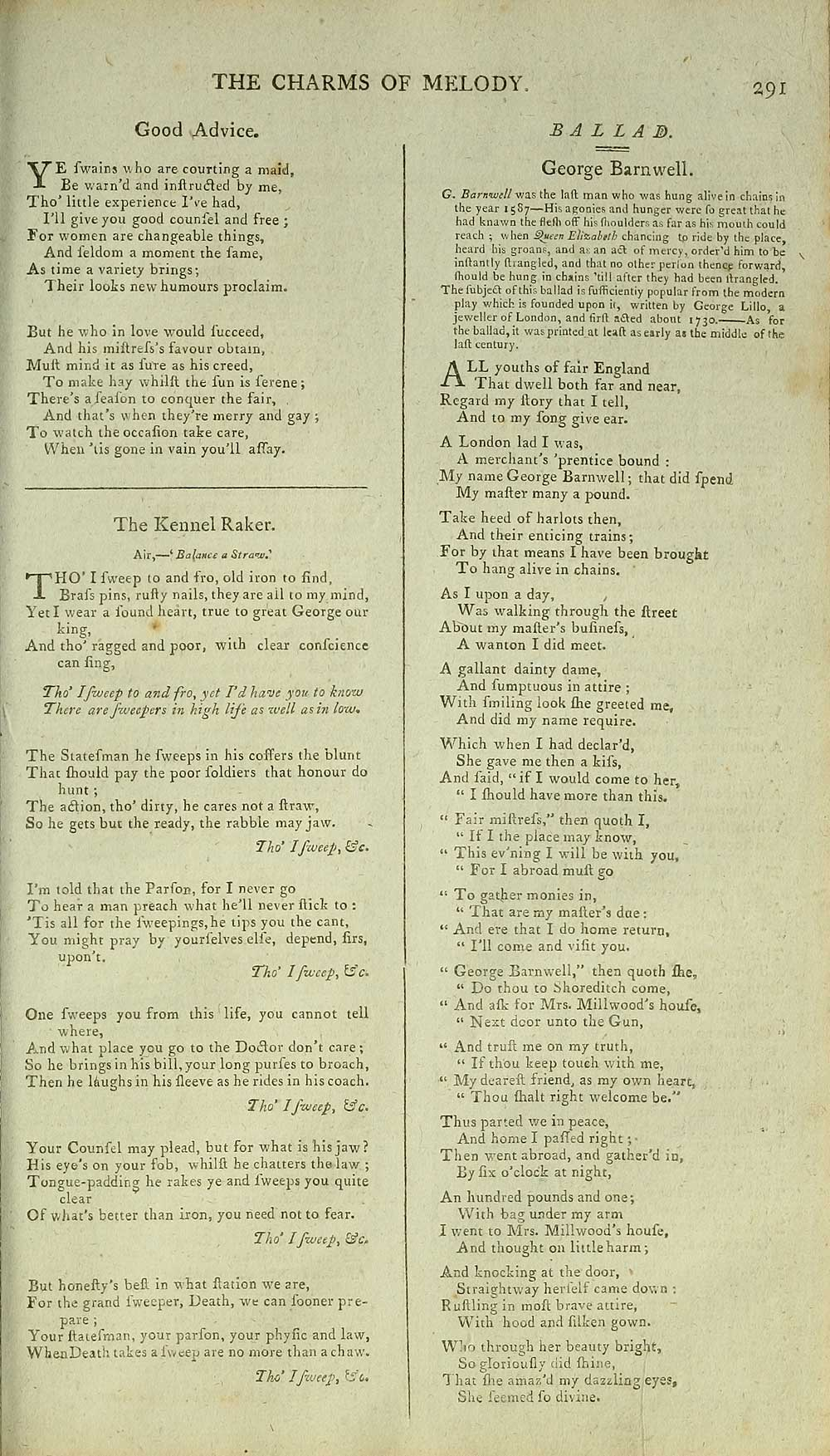 279) Page 291 - Good advice - Glen Collection of printed
