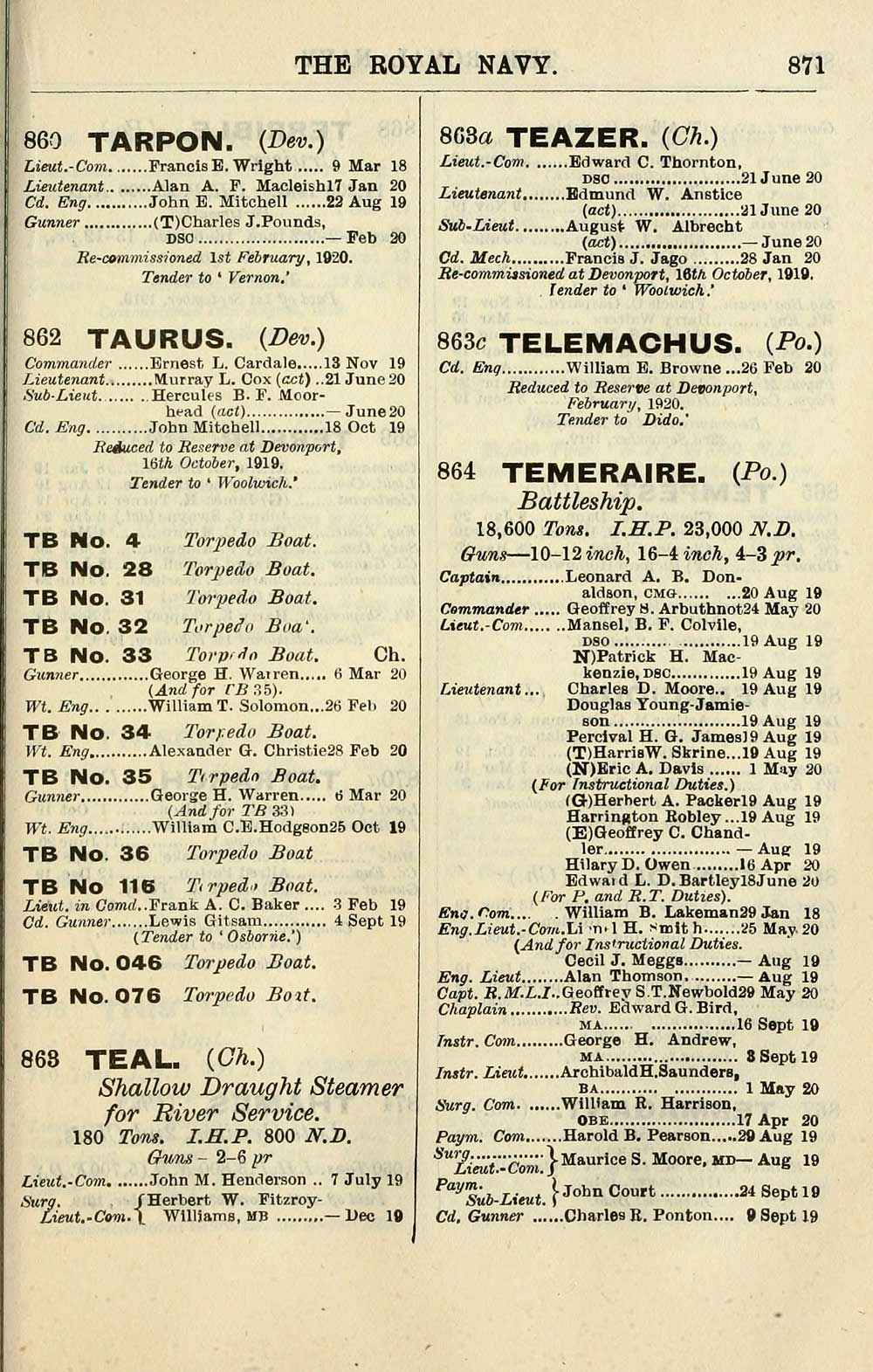 663) - Navy lists > Quarterly > 1920 > July - British Military ...