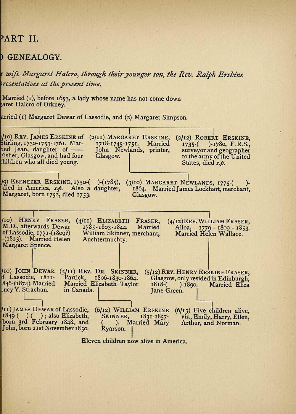 69) Genealogical chart - Erskine Halcro genealogy