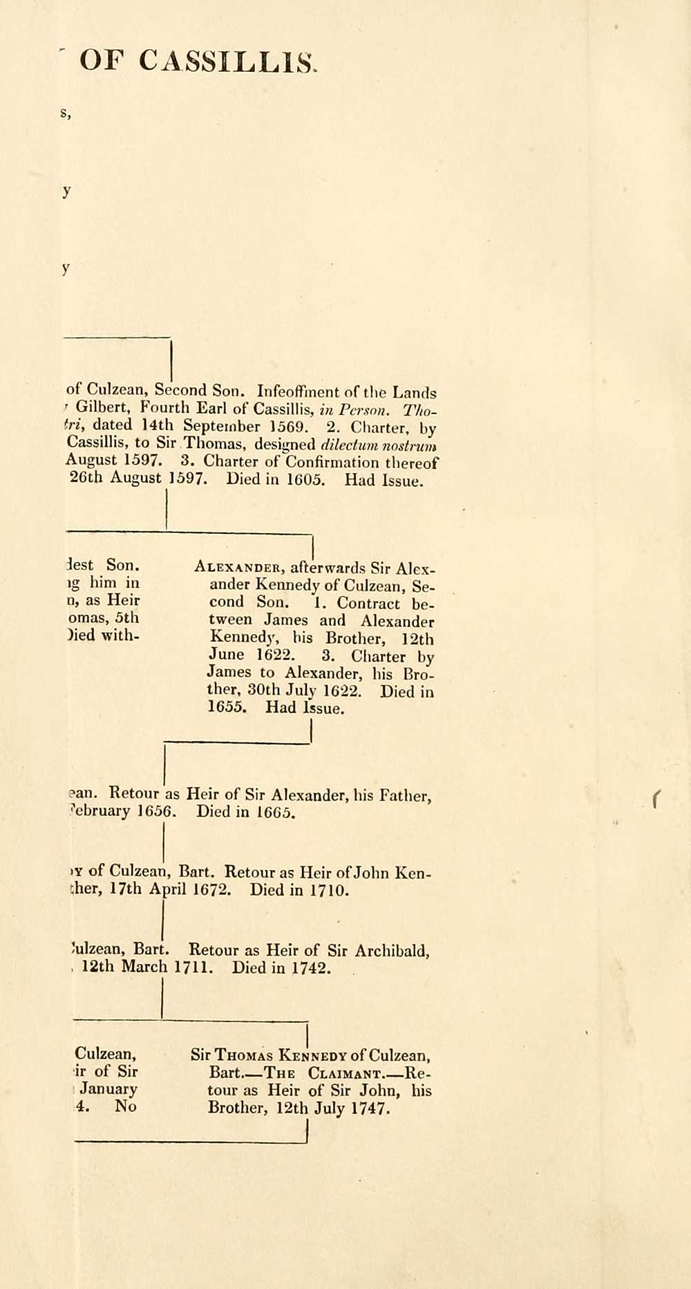 12) Folded genealogical chart - Cassillis peerage, 1760-4
