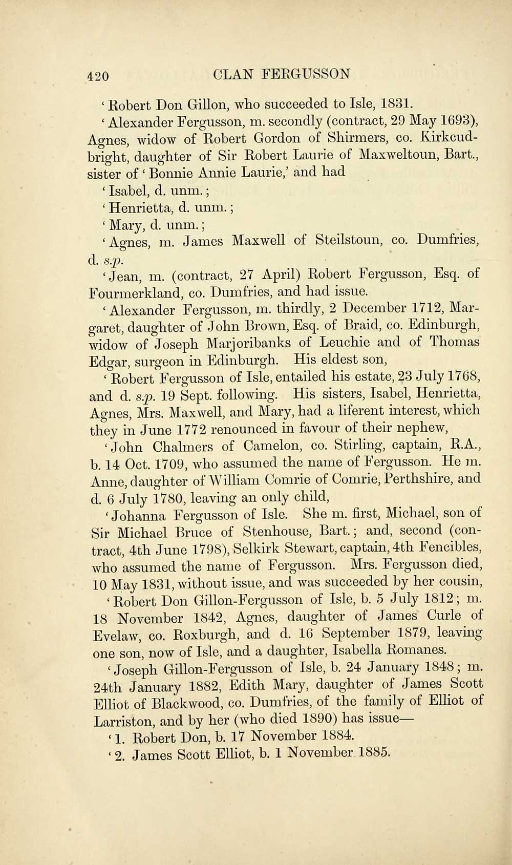472) Page 420 - Records of the clan and name of Fergusson, Ferguson