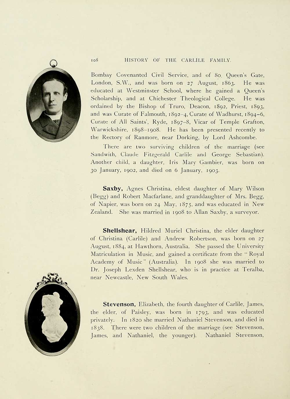 162) Page 108 - History of the Carlile family - Histories of